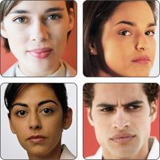 Fotos de tres mujeres y un hombre jóvenes