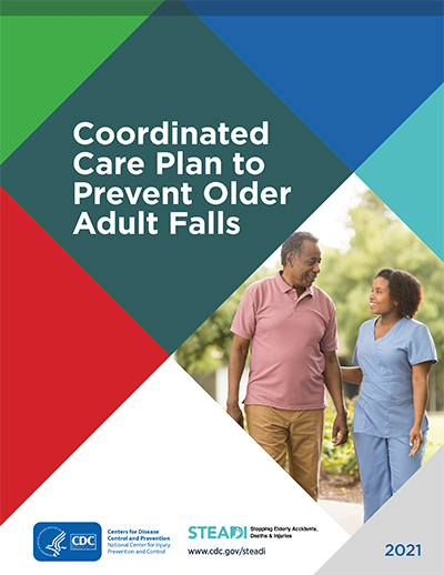 STEADI coordinated care plan 2021 - image of a woman walking with an older man