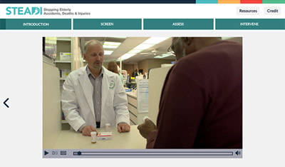 Screen shot of the STEADI Pharmacist training