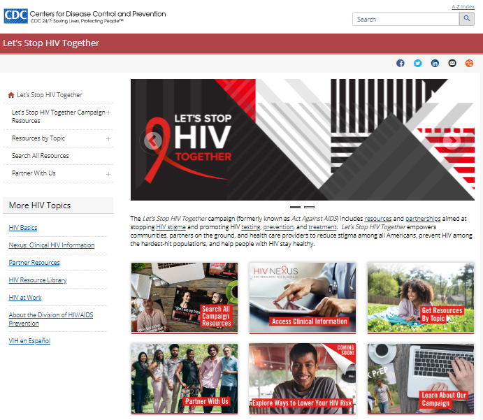 Screen shot of the new Let's Stop HIV Together site