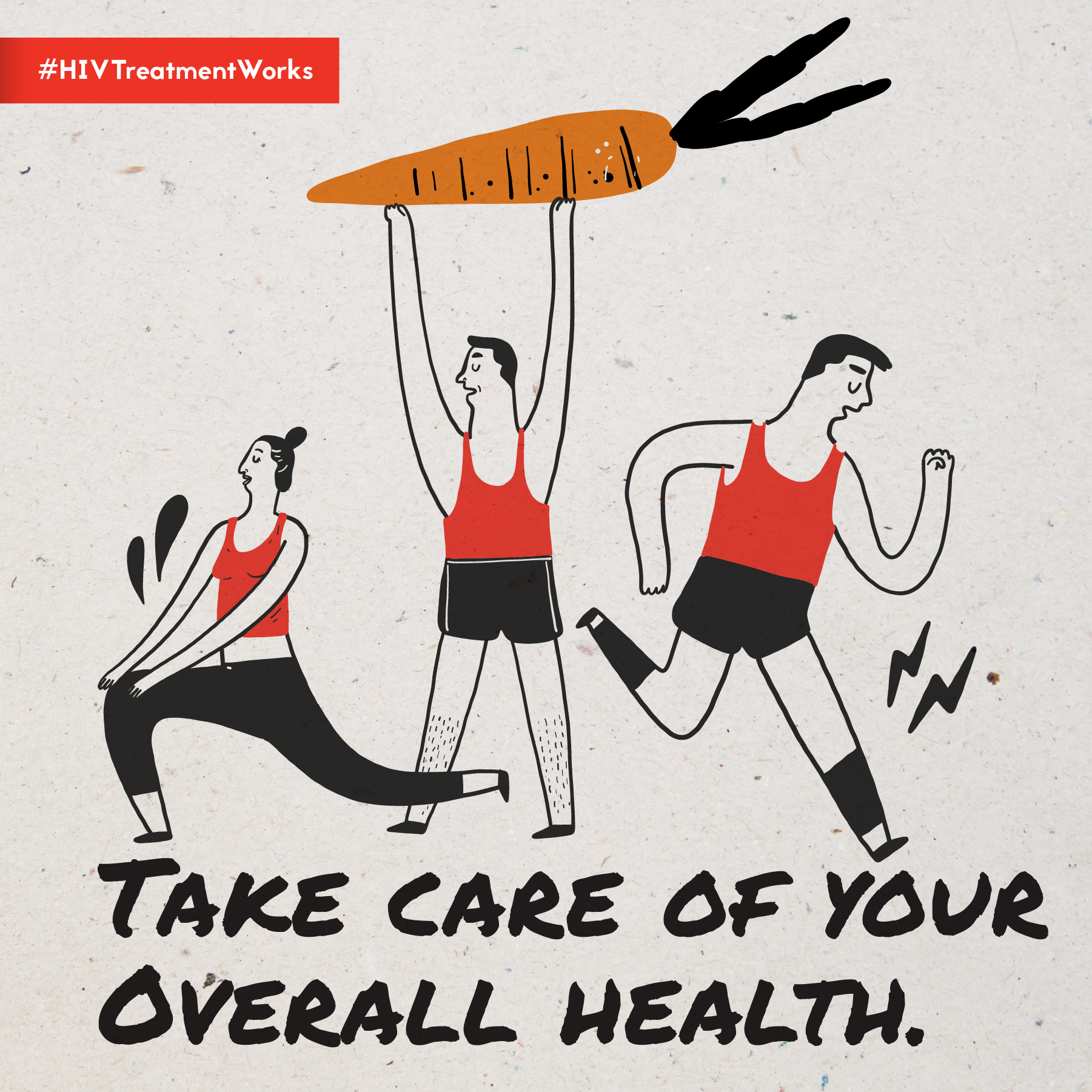 Image displays animation of three figures exercising, along with the following text: TAKE CARE OF YOUR OVERALL HEALTH.