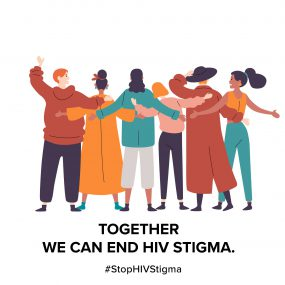 Image displays an animation of six women with arms linked in solidarity, along with the following text: Together we can end HIV stigma.