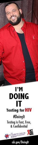 Doing It banner. Actor Daniel Franzese with red shirt standing and smiling in front of a textured wall. I'm Doing It. Testing for HIV. Testing is Fast, Free & Confidential. cdc.gov/DoingIt #DoingIt The Elizabeth Taylor AIDS foundation, Act Against AIDS