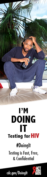 An image of Jay Ellis sitting on an interior windowsill, holding a water bottle. I'm Doing It. Testing for HIV. Testing is Fast, Free & Confidential. cdc.gov/DoingIt #DoingIt Act Against AIDS