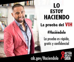 Un hombre sonríe mientras que baila. La prueba es rápida, gratis, y confidencial. cdc.gov/Haciendolo #Haciéndolo Act Against AIDS