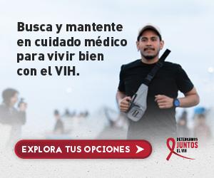 Web banner de la campaña Juntos de Alex, un hombre Latino gay trotando. Busca y mantente en cuidado médico.