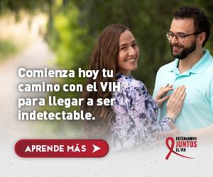 Web banner de la campaña Juntos de Elena, una mujer Latina con su esposo. Comienza hoy tu camino para llegar a ser indetectable hoy.