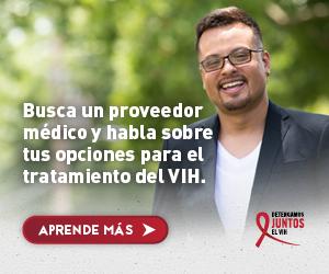 Web banner de la campaña Juntos de Gabriel, un hombre gay Latino sonriendose. Busca un proveedor medico.