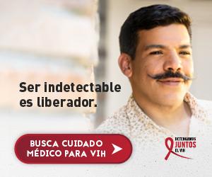 Web banner de la campaña Juntos de Marco, un hombre gay Latino sonriendose. Ser indetectable es liberador.