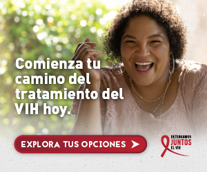 Web banner de la campaña Juntos de Tanisha, una bisexual Latina sonriendose. Busca cuidado médico.