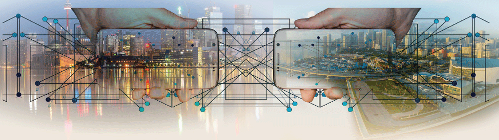 city landscape background with lines and dots representing data connections, hands holding two mobile phones with the same scene on the screen.