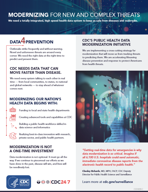 he Public Health Data Modernization Initiative is at the core of a national effort to accelerate lifesaving prevention and response through modern data systems, strong laboratories, and an empowered workforce.