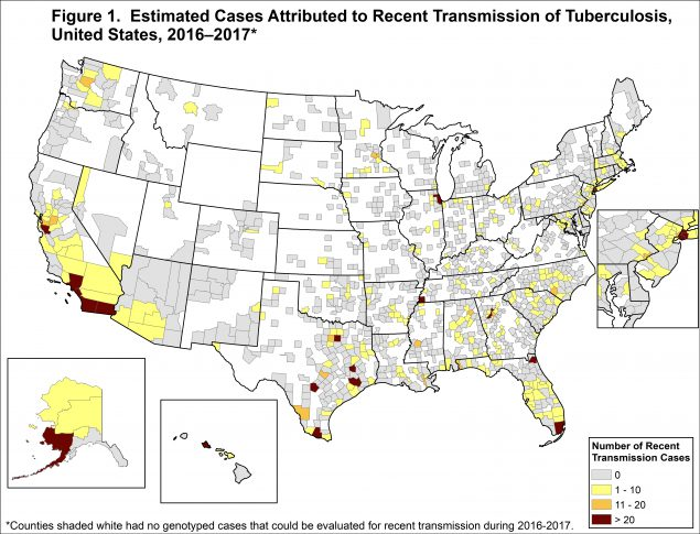 Recent transmission is evaluated using national TB molecular surveillance data. A case is estimated to be attributed to recent transmission if a plausible source case can be identified who: has the same M. tuberculosis genotype, has an infectious form of TB disease, resides within 10 miles of the case, is 10 years of age or older, and was diagnosed within 2 years prior to the case's diagnosis date.
