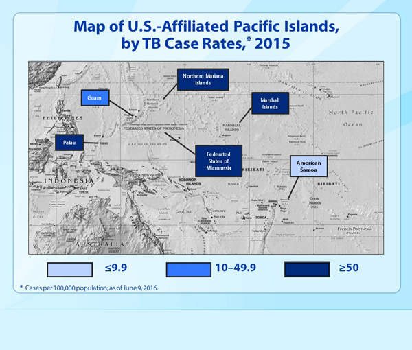 Slide 5 - Map of U.S.-Affiliated Pacific Islands, by TB Case Rates, 2015