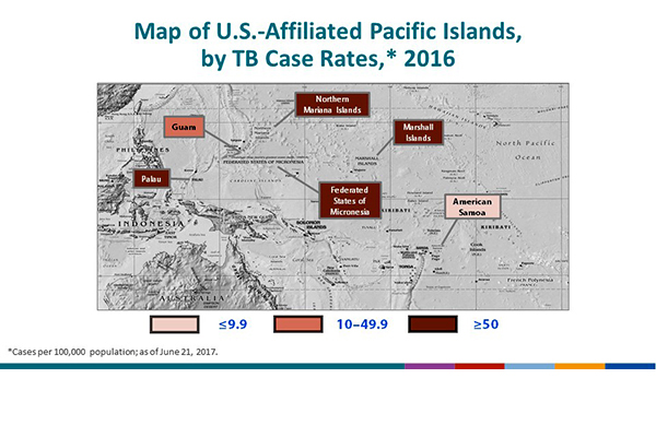 Map of the U.S.-Affiliated Pacific Islands, by TB Case Rates, 2016. The Federated States of Micronesia, Republic of the Marshall Islands, Northern Mariana Islands and Palau had case rates at or above 50/100,000 population. The lowest case rates were in Guam and American Samoa.