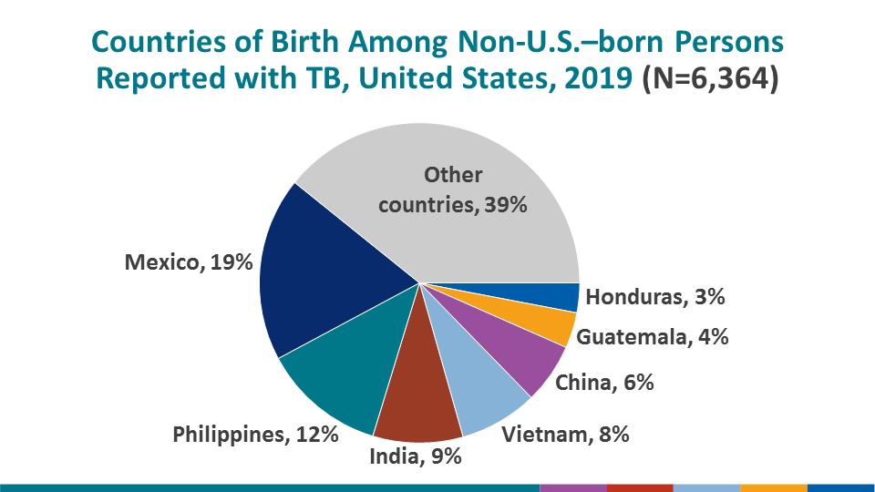 The most common countries of birth among non-U.S.–born TB patients remained similar to previous years, with Mexico (18.6%) the most frequently reported country of birth, followed by the Philippines (12.5%), India (9.1%), Vietnam (7.9%), and China (6.1%). Note: this slide is a duplicate of the previous slide to provide an alternative visual display of the same data.