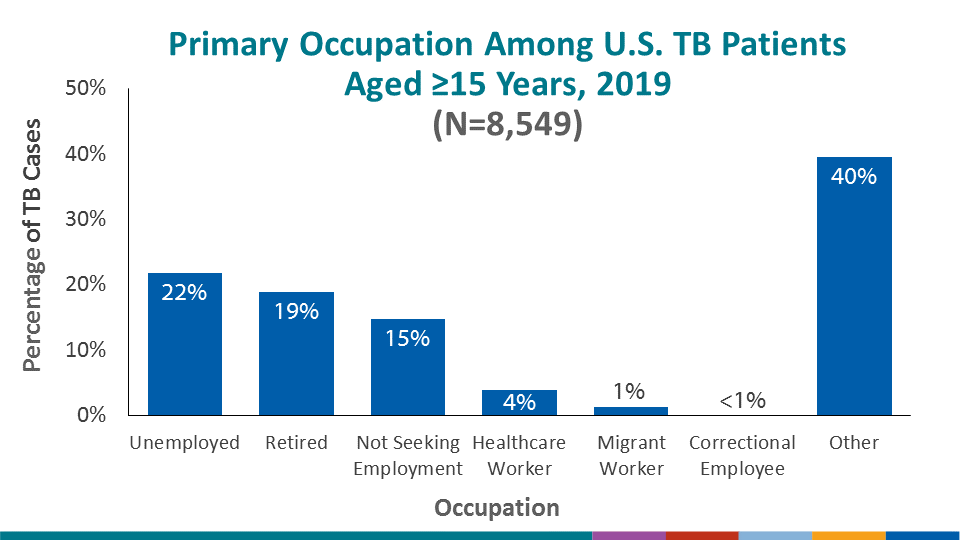 In the past, healthcare personnel, migrant workers and correctional employees were more likely to be represented as occupations among persons with TB. In 2019, the percentages were 4%, 1%, and <1% respectively; the largest category of occupations fell into the other category. Unemployed persons comprised 22% of TB cases and almost 34% were either retired or not seeking employment.