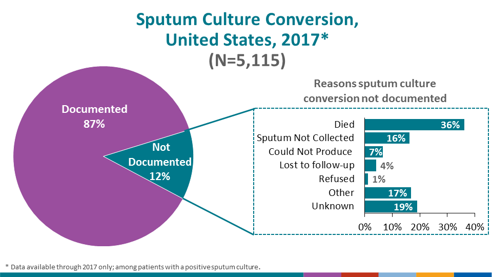 Conversion of a patient's positive sputum culture to negative is a key indicator of treatment effectiveness. Among 5,115 cases during 2017 with positive sputum cultures, 4,422 (86.5%) had documented sputum culture conversion to negative. Among the 632 (12.4%) cases for which sputum culture conversion was undocumented, the most common reason was that the patient had died (36.1%) before sputum culture conversion; however, a proportion of these cases (19.0%) did not have a known reason reported for not having documented sputum culture conversion.