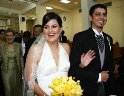 Liliana with her husband on their wedding day