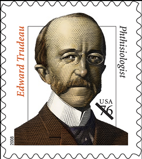 Image of 2008 US postage stamp commemorating Edward Trudeau. Courtesy of USPS.