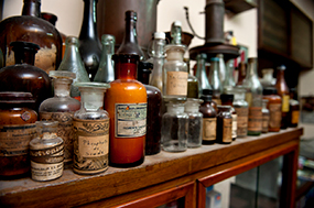 Image of old medicine bottles.