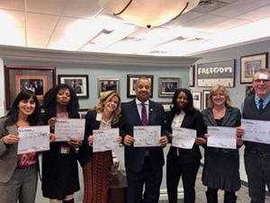 In Congressman Donald Payne Jr.'s New Jersey office. From left to right: Arpita Jindani (GTBI); Dona Miller (Lattimore Clinic); Kate O'Brien (We are TB); Congressman Donald Payne Jr.; Judy Thomas (Lattimore Clinic); Patricia Woods (Lattimore Clinic); Mark Wolman (GTBI)