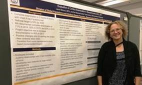 "Photo Caption: Laura Smock's dedicated work to end TB is reflected in her poster, ""Evaluation of Contact Examination in Massachusetts."""