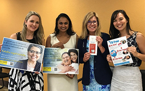 From left to right: : 2019 TB Elimination Champions Mallory Schmitt, Clinicas de Salud del Pueblo (CSP), Imperial County, California; Neha Shah, Project Director, TB Free California, California Department of Public Health; Marti Brentnall, TB Prevention Coordinator, San Diego County Health and Human Services;Tessa Mochizuki, Prevention Epidemiologist, TB Free California  Photo Caption: TB partners and products made for Clinicas de Salud del Pueblo (CSP), Imperial County.