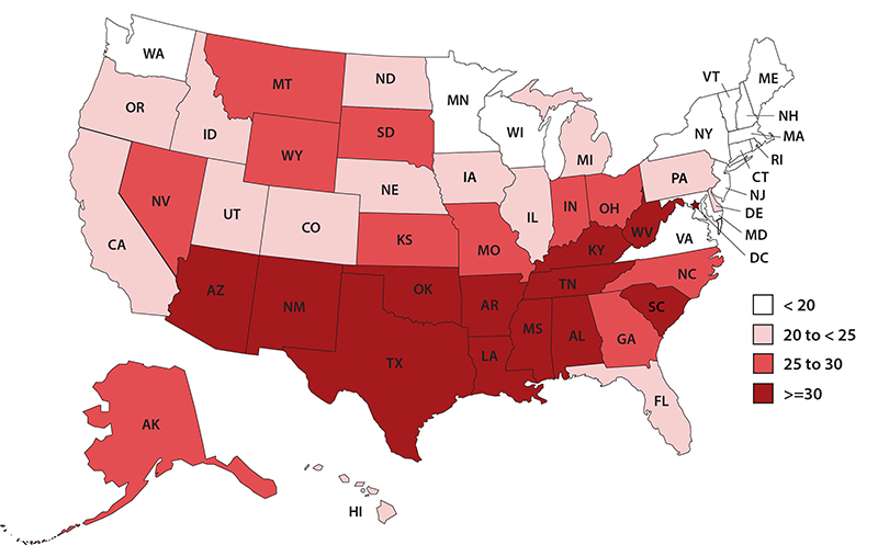 United States Map With State Teen Birth Rates Births Per 1 000 Females Ages 15 19 By Quartile