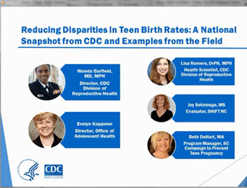 Video: Reducing disapirities in teen birth rates: a national snapshot from CDC and examples from the field