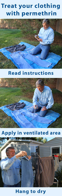 Series of three images showing a man treating his clothing with permethrin