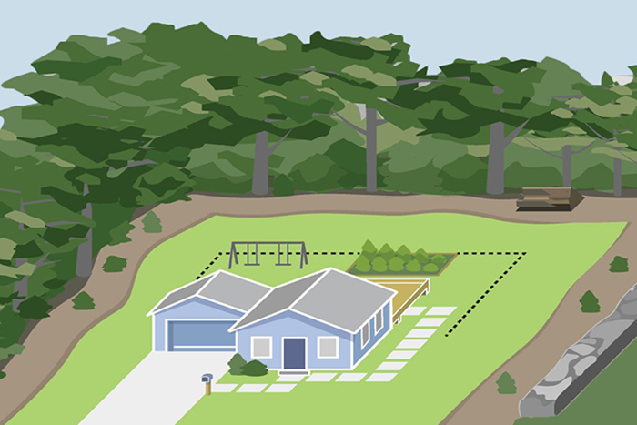 Clipart image of a house and yard
