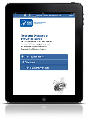 Ipad with Tickborne Diseases of the United States app open