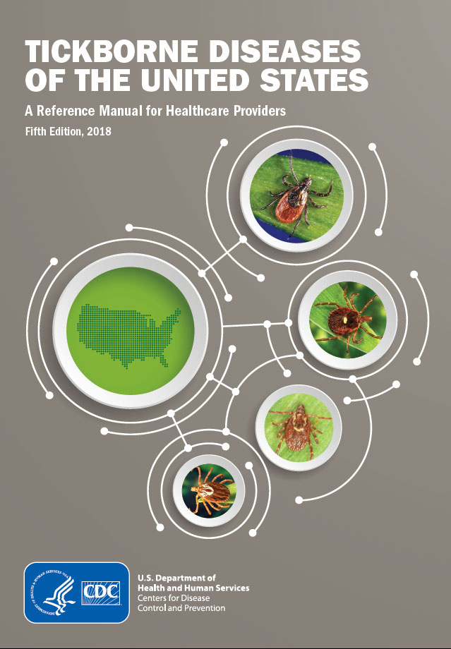 Cover image of Tickborne Diseases of the United States, Fifth Edition. Image shows a general map of the United States and images of the three most common human-biting ticks in the U.S.—Blacklegged tick, lone star tick, and American dog tick