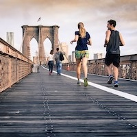 Running on a bridge in New York