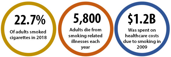 22.7% of adults smoked cigarettes in 2018; 5,800 adults die from smoking-related illnesses each year; $1.2B was spent on healthcare costs due to smoking in 2009
