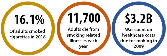 16.1% of adults smoked cigarettes in 2018; 11,700 adults die from smoking-related illnesses each year; $3.2B was spent on healthcare costs due to smoking in 2009