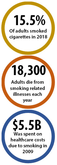 15.5% of adults smoked cigarettes in 2018; 18,300 adults die from smoking-related illnesses each year; $5.5B was spent on healthcare costs due to smoking in 2009