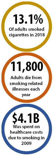 13.7% of adults smoked cigarettes in 2017; 11,800 adults die from smoking-related illnesses each year; $4.1B was spent on healthcare costs due to smoking in 2009