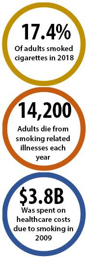 17.4% of adults smoked cigarettes in 2018; 14,200 adults die from smoking-related illnesses each year; $3.8B was spent on healthcare costs due to smoking in 2009