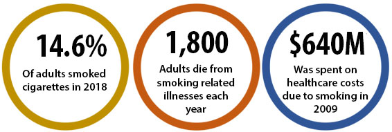 14.6% of adults smoked cigarettes in 2018; 1,800 adults die from smoking-related illnesses each year; $640M was spent on healthcare costs due to smoking in 2009