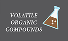 Icon with text: volatile organic compounds