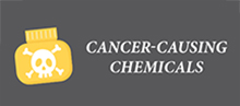Icon with label: Cancer-causing chemicals