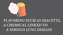 Icon with label: Flavoring such as Diacetyl, a chemical linked to a serious lung disease