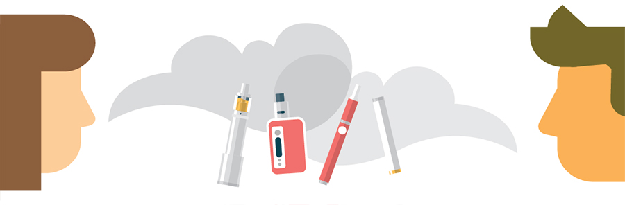 Image of e-cigarette devices and people.