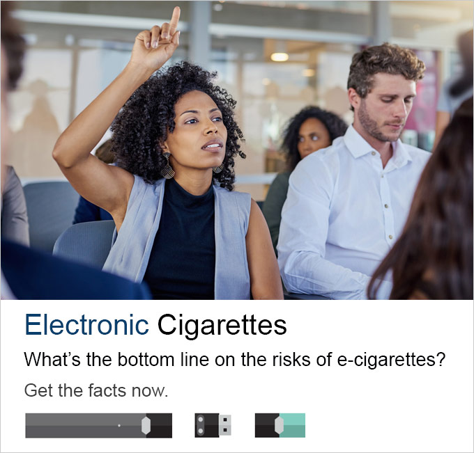 Electronic Cigarettes - What's the bottom line on the risks of e-cigarettes?  You're questions answered.  A group of diverse people with one woman raising her hand up as if asking a question.