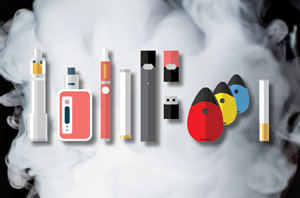 picture of several types of e-cigarette and vaping devices