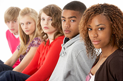 A young diverse group of teenagers.