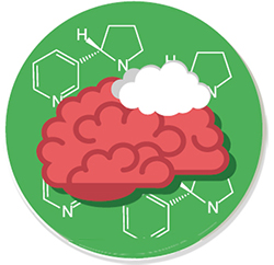 Image of a brain with a cloud and chemistry numbers