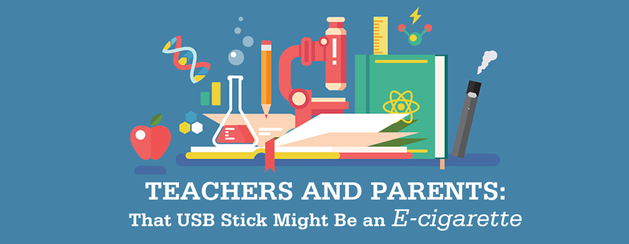 Teachers and parents: that USB stick Might be an E-cigarette - Image of things you associate with school: an apple; books; pencil; testtubes; microscope